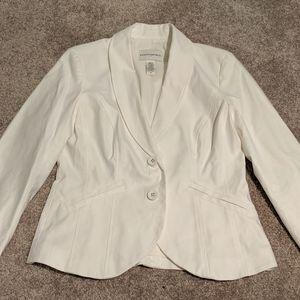 Banana Republic Women's White Stretch Linen Blazer